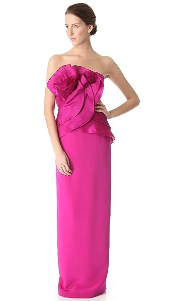 Marchesa Petal Column Gown