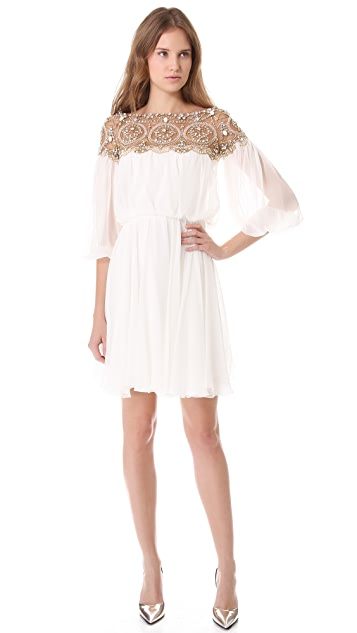 Marchesa Long Sleeve Cocktail Dress