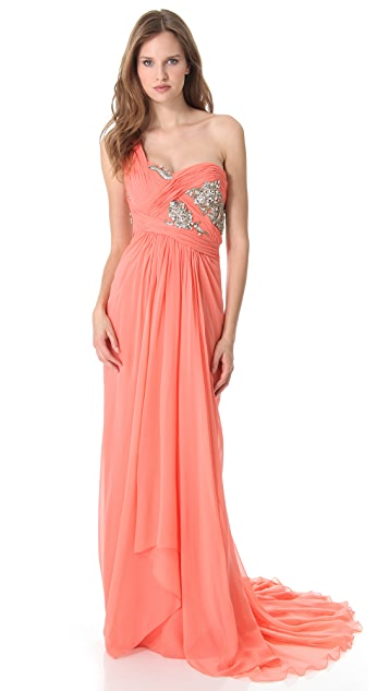 Marchesa One Shoulder Chiffon Gown