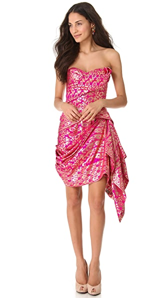 Marchesa Strapless Sari Cocktail Dress