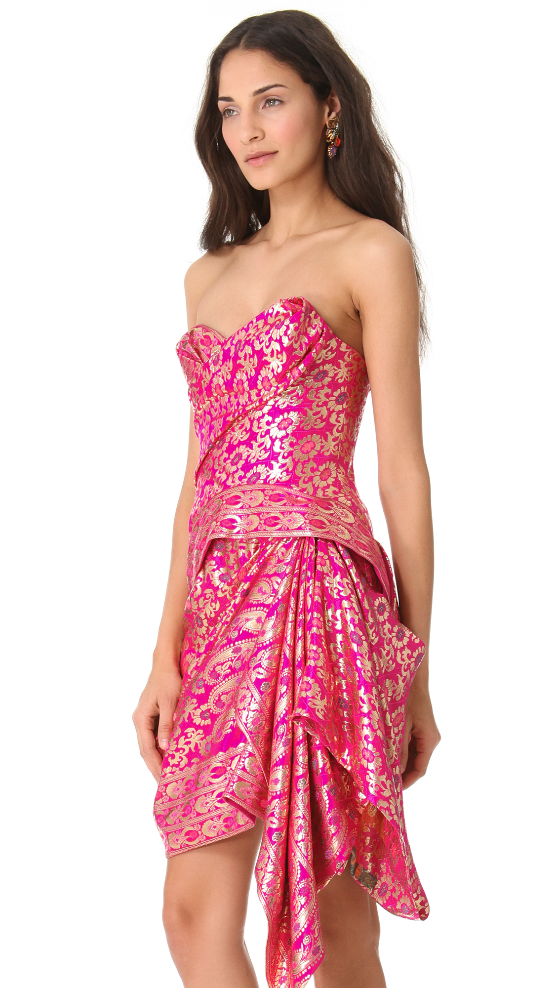 Marchesa Strapless Sari Cocktail Dress | SHOPBOP