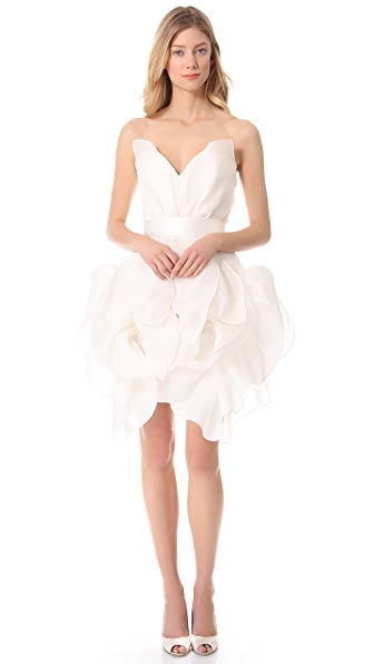 Marchesa Sculptural Strapless Dress