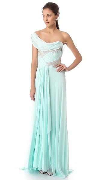 Marchesa Grecian Chiffon Gown
