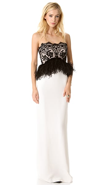Marchesa Strapless Gown with Feathers