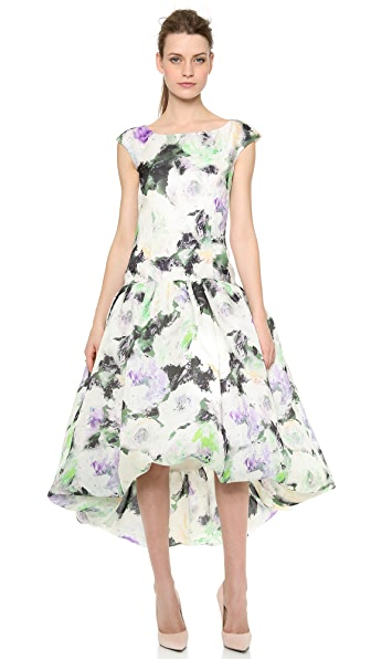 Marchesa Drop Waist Floral Dress