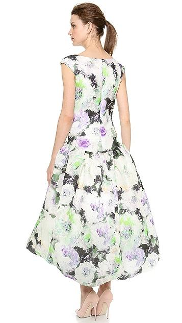 Marchesa Drop Waist Floral Dress