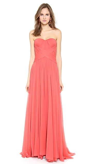 Marchesa Strapless Silk Chiffon Gown