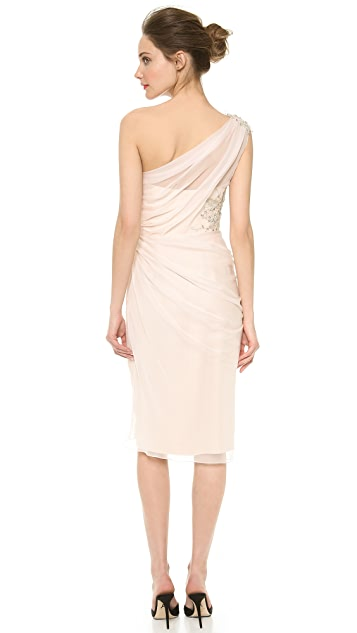 Marchesa One Shoulder Draped Dress