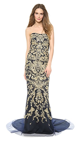 Marchesa Strapless Fishtail Gown with Gold Sequins