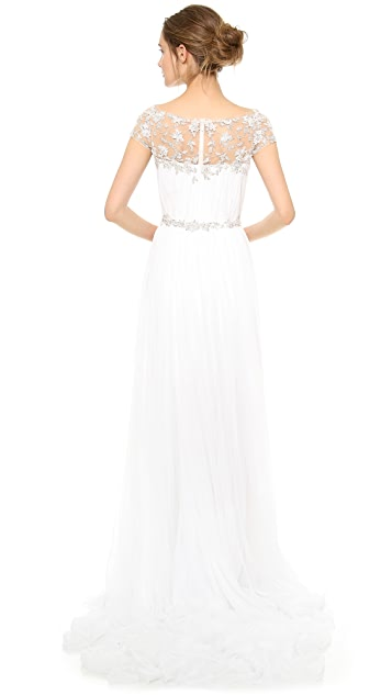 Marchesa Hand Pleated Chiffon Gown