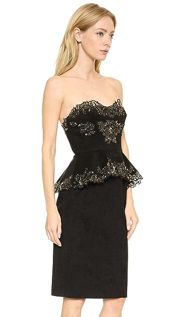 Marchesa Faux Suede Cocktail Dress