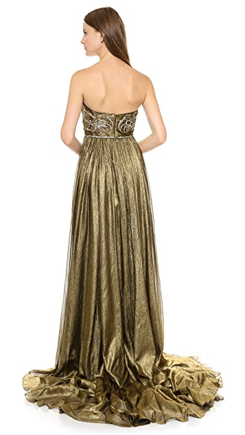 Marchesa Full Foil Chiffon Gown