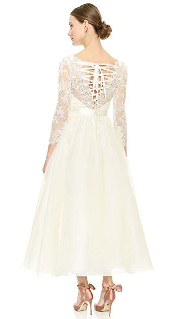 Marchesa Lace Up Back Dress