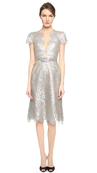 Marchesa Metallic Lace Dress