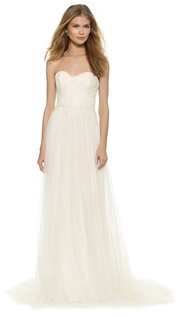 Marchesa Strapless Chantilly Lace Gown