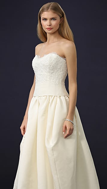 Marchesa Beaded Lace Strapless Bustier