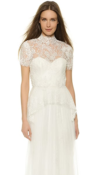 Marchesa Beaded Lace Peplum Blouse - Ivory