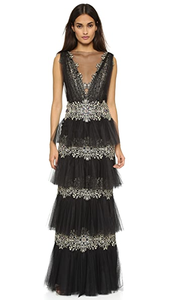 Marchesa Layered Tulle Gown