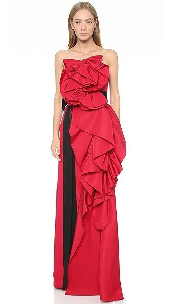 Marchesa Asymmetrical Ruffle Gown