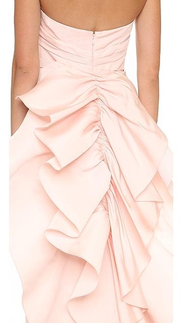 Marchesa Strapless Silk Faille Column Gown