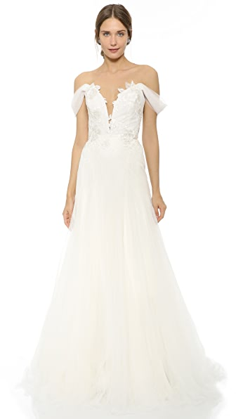 Marchesa Hyacinth Gown with Plunging Neckline - Ivory