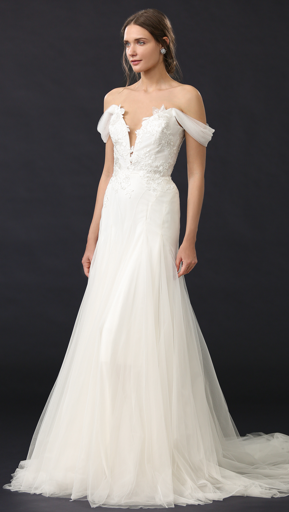 Marchesa Hyacinth Gown with Plunging Neckline   SHOPBOP