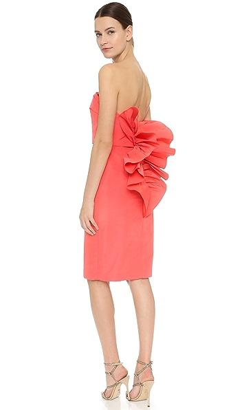 Marchesa Strapless Cocktail Dress - Coral