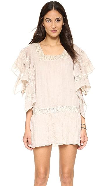Moon River Lace Trim Mini Dress