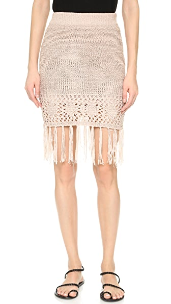 Moon River Fringe Skirt - Blush Pink