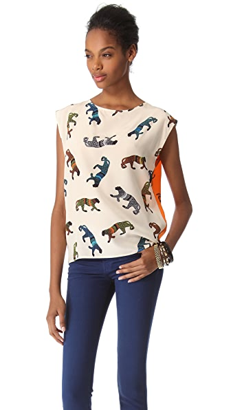 MSGM Panther Monkey Silk Top