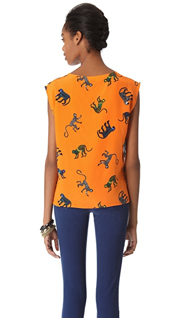 MSGM Panther Monkey Silk Top