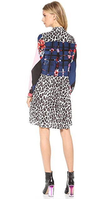 MSGM Plaid & Leopard Shirt Dress