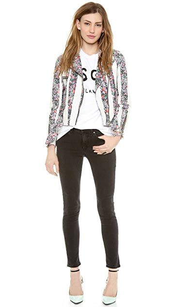 MSGM Stripe Flower Biker Jacket