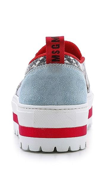 MSGM Snake Print Slip On Sneakers