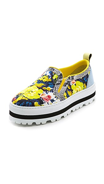 MSGM Floral Platform Slip On Sneakers