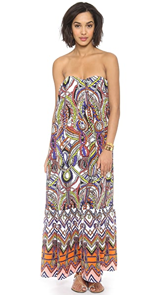 MSGM Printed Strapless Maxi Dress