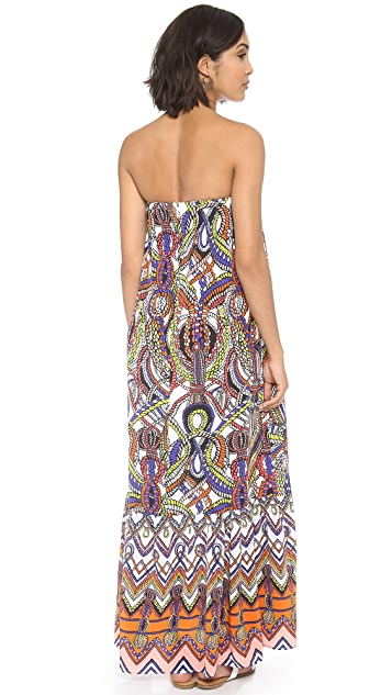MSGM Printed Strapless Maxi Dress