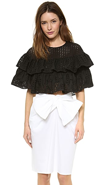 MSGM Layered Ruffle Crop Top