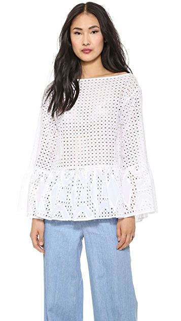 MSGM Ruffle Layer Long Sleeve Blouse