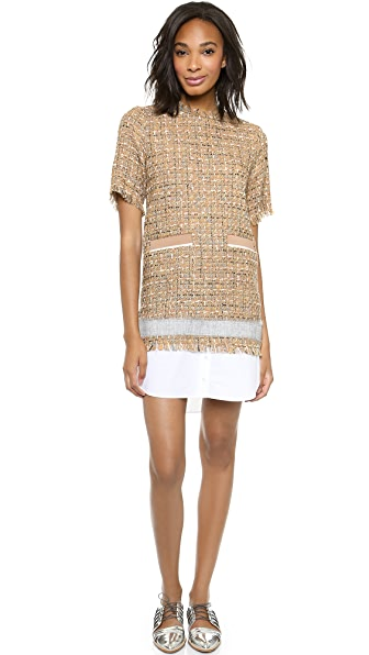 MSGM Tweed Overlay Dress