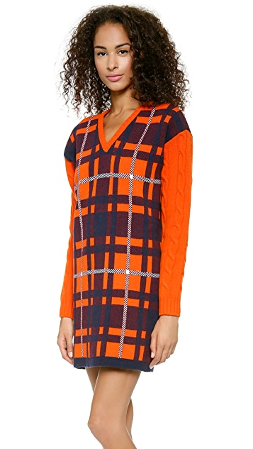 MSGM Cable Sleeve Plaid Dress