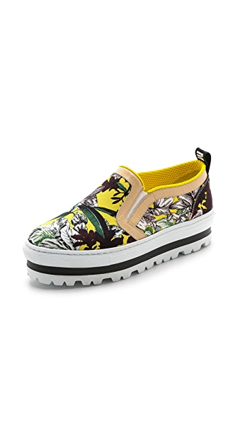 MSGM Floral Slip On Sneakers