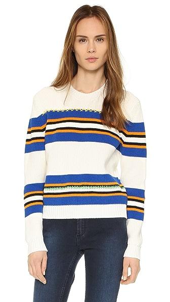 Msgm Striped Sweater - White