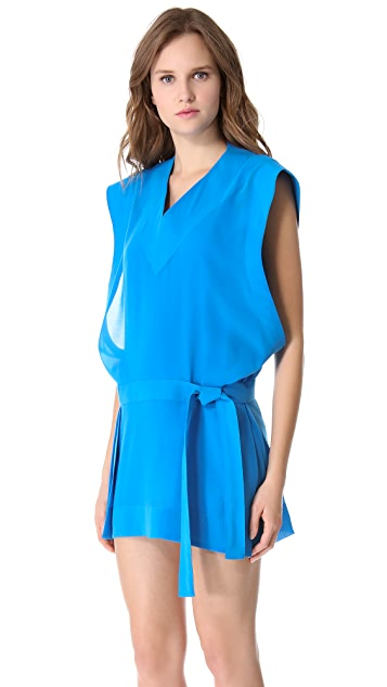Mugler Sleeveless Kimono Tunic Dress