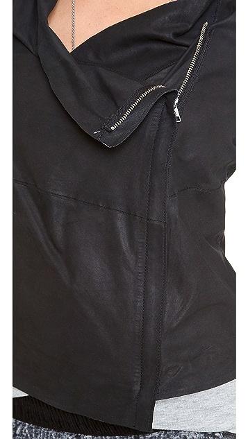 Muubaa Yogi Draped Leather Jacket