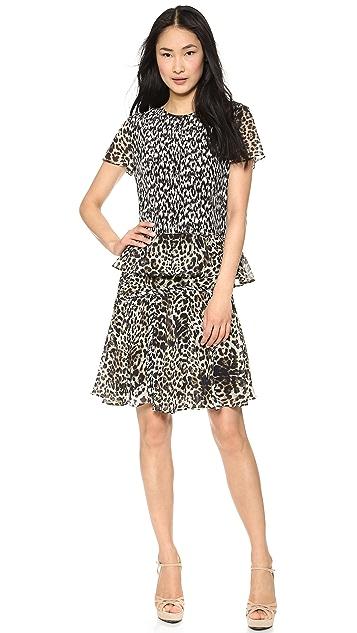 Marchesa Voyage Leopard Flouce Skirt