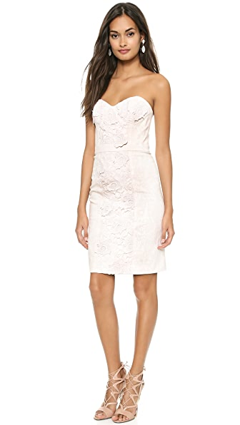 Marchesa Voyage Lace Flower Denim Dress