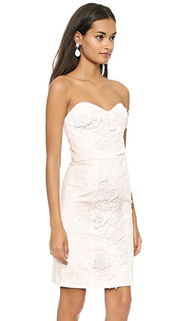 Marchesa Voyage Lace Flower Denim Dress