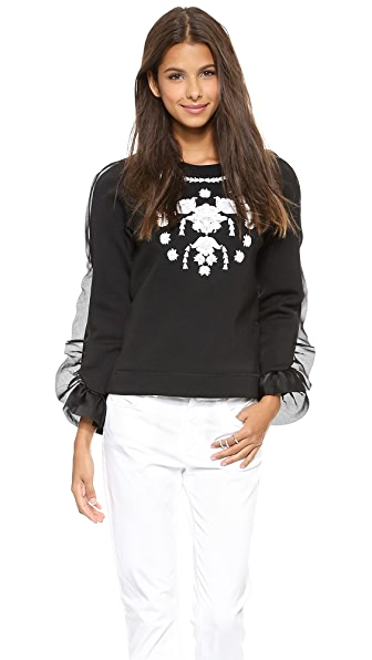 Marchesa Voyage Embroidered Sweatshirt