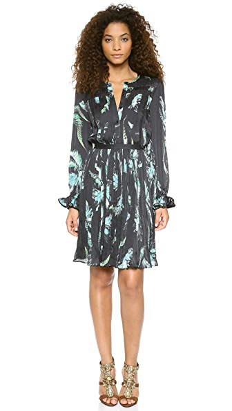 Marchesa Voyage Long Sleeve Pleated Dress
